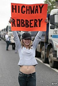 Fuel protestor