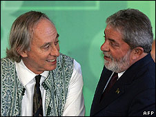 Brazil's Environemnt Minister Carlos Minc and President Luiz Inacio Lula da Silva at inauguration ceremony (27.05.08)