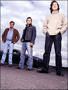 Top Gear presenters Jeremy Clarkson, Richard Hammond and James May
