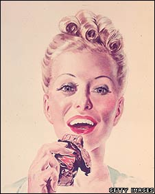 Advert featuring woman eating Mars Bar from 1957