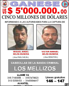 File photo of wanted poster of Miguel Angel Mejia, left, and his brother Victor Manuel