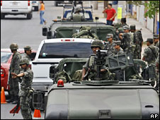 Mexican soldiers man a checkpoint in Culiacan in Sinaloa as part of a crackdown on drug-related violence Photo from 16 May.