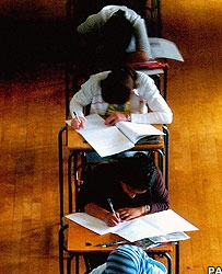 Person taking an exam