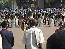 File photo of Ugandan police blocking protesters