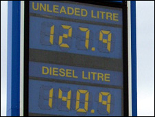 Fuel price sign in Lerwick