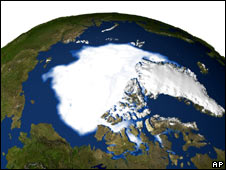 Nasa photo showing ice cover in September 2005