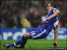 John Terry misses a penalty in the Champions League final
