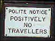 Anti-travellers' sign