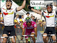 Andre Greipel and Mark Cavendish both celebrate at the finish line