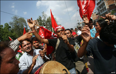 Maoists dance during a rally in Kathmandu in support of Nepal becoming a republic