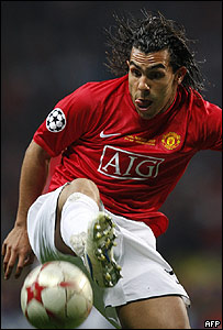 El argentino Carlos Tevez, jugador estelar del Manchester United