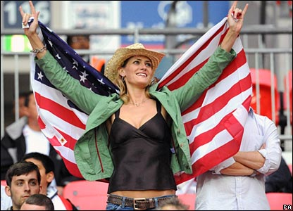 American fan enjoys the atmosphere at Wembley Stadium