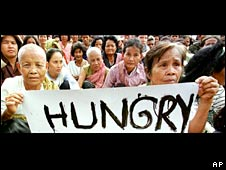 Hunger demonstration, Cambodia. Image: AP