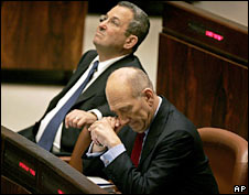 Israeli Prime Minister Ehud Olmert (right) and Israeli Defence Minister Ehud Barak. File photo