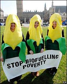 Biofuel protesters in Parliament Square in London