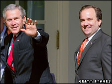 George W Bush and Scott McClellan at the White House, April 2006