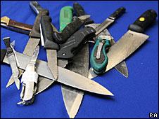 Knives seized by police during Operation Blunt 2