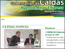 Screenshot of Caldas state government home page, Caldas