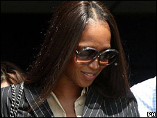 Naomi Campbell leaving Heathrow police station