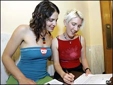 Two women apply for a marriage licence at City Hall in San Francisco
