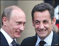 Russian Prime Minister Vladimir Putin (left) and French President Nicolas Sarkozy in Paris