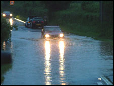 Flooding on the A38 road in Wellington, Somerset  (Pic: Simon Sparkes)