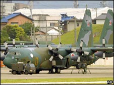 A C-130 military aircraft at Komaki air base in central Japan, 28 May 2008