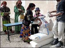 Tajiks receive UN food aid in the  Khotlan region, March 2008