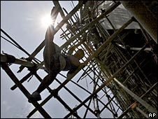 Laborer on Indian construction site