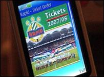 Football ticket on an NFC mobile phone