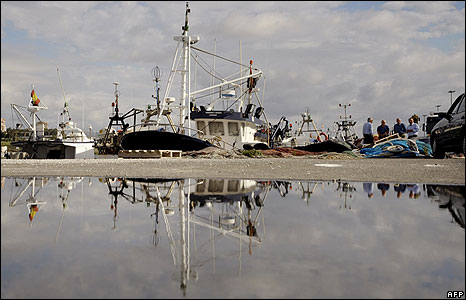 Fishing trawlers sit in port in Algeciras
