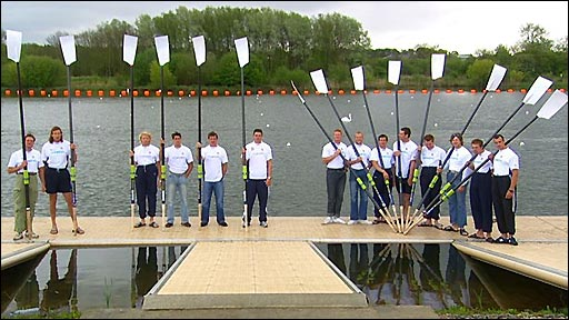 Great Britain's rowing squad demonstrate