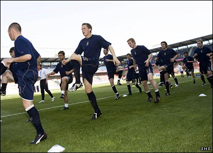 Scotland warm up