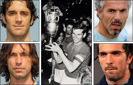 Clockwise from top left: Luca Toni, Giacinto Facchetti with the trophy in 1968, Roberto Donadoni, Gianluigi Buffon and Andrea Pirlo
