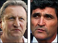 Palace boss Neil Warnock and Spurs counterpart Juande Ramos