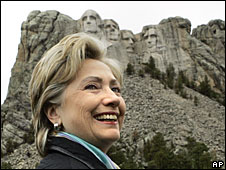 Hillary Clinton makes a campaign stop at Mt Rushmore, South Dakota