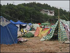 Earthquake survivors' tents in Mianyang