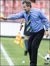 George Burley directs his side in Prague
