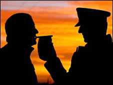 Policeman breathalyses a motorist