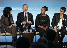 Tony Blair and panel at launch of Faith Foundation