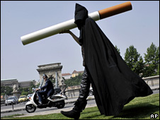 An anti-smoking activist dresses up as an executioner in Budapest, Hungary, ahead of World No Tobacco Day which is held annually on Saturday 31 May.