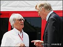 Bernie Ecclestone (left) and Max Mosley (right)