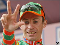 Italian cyclist Emanuele Sella celebrates his win