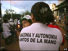 Pro-autonomy supporter in Pando, Bolivia