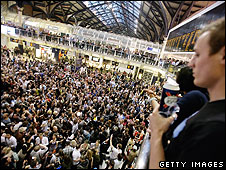 Partygoers at Liverpool Street