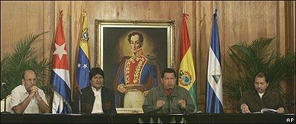 Carlos Lage, Evo Morales, Hugo Chávez, Daniel Ortega, AP