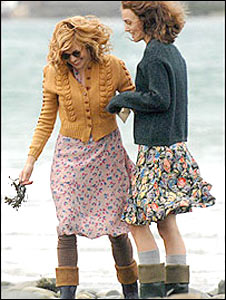 Sienna Miller (L) and Keira Knightley filming near New Quay (picture: Wales News Service)