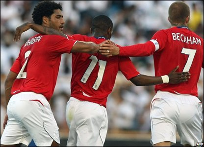 Glen Johnson, Jermain Defoe and David Beckham