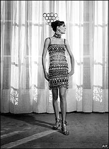 A model wears an African-style Saint Laurent dress, New York, 1967