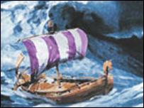 رسم تخيلي للسفينة الفينيقية